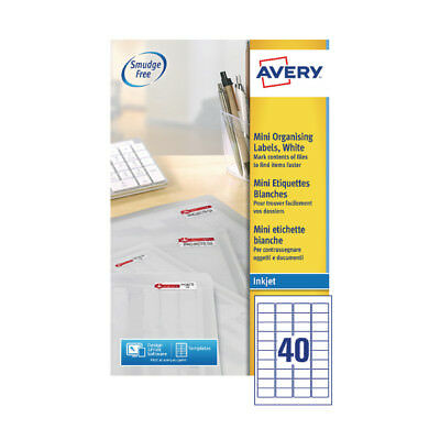 Avery White Inkjet Mini Labels 45x25mm (Pack of 1000) J8654-25