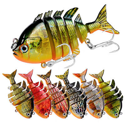 Multi Jointed Fishing Lures Baits Lifelike 6 Segments Swimbait 3D Eyes 6# Hooks