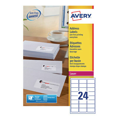 Avery Quickpeel Laser Address Labels 64x33.86mm 24 Per Sheet (Pack of 100) L7159