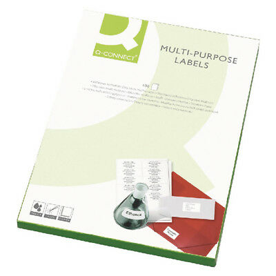 Q-Connect White Multi-Purpose Label 63.5x38mm 21 per A4 Sheet (Pack of 100)