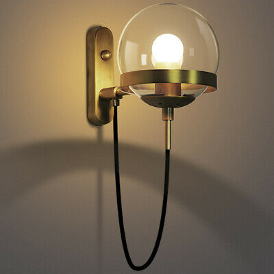 Industrial Vintage Style Brass Wall Light Sconce Globe Glass Lamp Shade Fixture