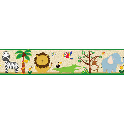 "Jungle Animals ~ Sweet Safari Wallpaper Border ~ Removable ~ 5"" x 15' ~ NIP"
