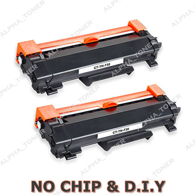2PK Compatible TN730 DIY For Brother up to 1.2K page Toner [NO CHIP] DCP-L2550DW