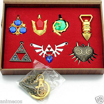 The Legend of Zelda Necklace keychain Pendant 7pcs Set Collection New in Box