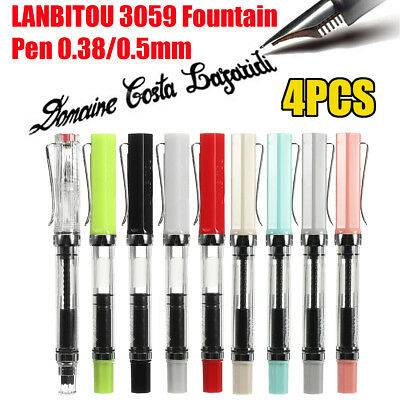 4PCS LANBITOU 3059 Multicolour Transparent Fine Nib Fountain Pen 0.38mm/0.5mm