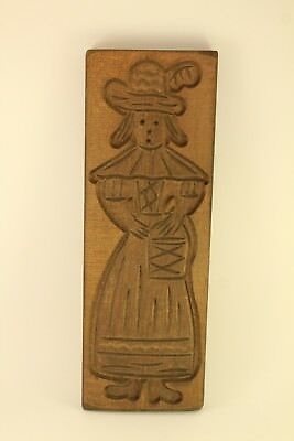 Primitive Carved Wood Speculaas Kitchen Cookie Mold Springerle Dutch Maiden Lady