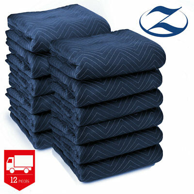 Moving Blankets Set of 12 Shipping Pads Heavy Duty Furniture Moving Blankets