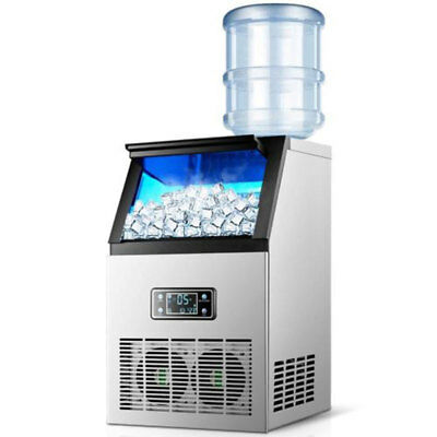 220V Commercial Auto Stainless Steel Bar Ice Maker Cube Machine 55kg/24hr