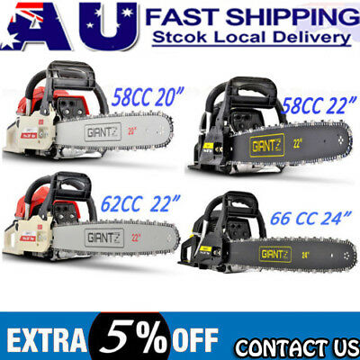 "58/62/66/82CC Petrol Commercial Chainsaw 22"" 24""Bar E-Start Chain Saw 3 Pruning"