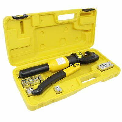 10 Ton Hydraulic Wire Battery Cable Lug Terminal Crimper Crimping W/Dies