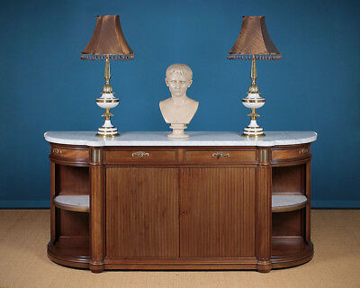 Antique Long French Marble Top & Mahogany Sideboard c.1910.