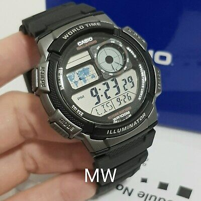 Casio Digital World-time Black Resin Sport Teens Men Watch AE-1000W-1B Ae1000W