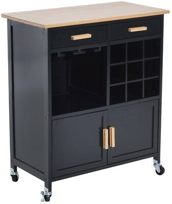 Black Rolling Kitchen Trolley Microwave Storage Stand Serving Cart Wine Rack New