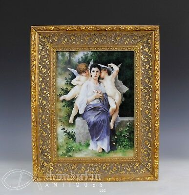Large Old Kpm Porcelain Plaque With Scene Of Woman In A Garden With Putti