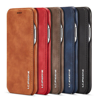 Genuine PU Leather Flip Wallet Slim Case Cover For iPhone X 8 7 6S Plus Samsung