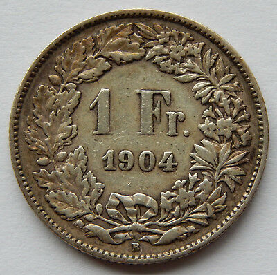 1904 Switzerland 1 Franc Silver Coin KM#24 Low Mintage of 400,000 SB4969
