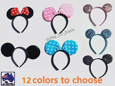 Mickey Minnie Mouse Ears Headband Party Costume Bow Fancy Dress 7 Colours Option