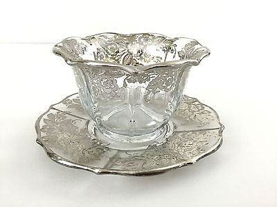 BAROQUE sterling silver / glass sauce dish / underplate Fostoria Glass Co. 1940s