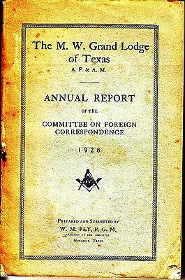 The M.W. Grand Lodge of Texas AF&AM Annual Report 1928 Masonic Freemasonry Book