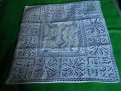 Taie ancienne lin broderie Richelieu main 66x66cm motif central dentelle filet