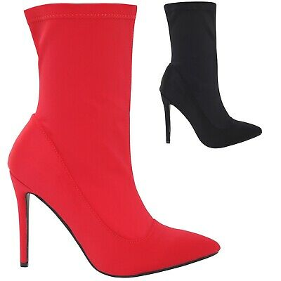 New Ladies Women Stiletto Sock Ankle Boot Shoes Uk 3-8