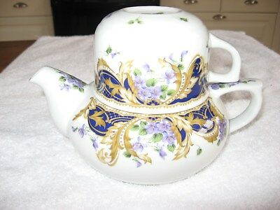 ANDREA BY SADEK Royal VioletsComplete three pieceset with Teapot, lid & teacup