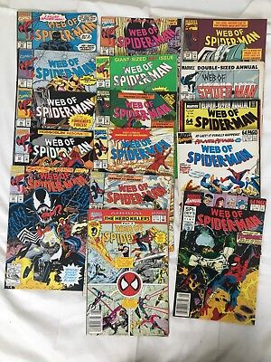LOT OF 16 Web of Spider-Man Comics, 1991-1994 Venom appearance plus annuals