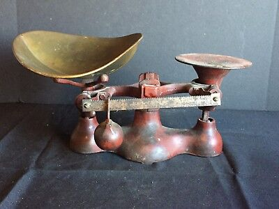Antique Cast Iron General Store Balance Scale with Brass Tray