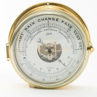 Vintage Schatz Brass Ship's Compensated Precision Barometer Made in Germany