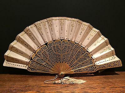 Antique French 19th Century Silk Hand Fan Exquisite Detail Vintage Ladies Gilt