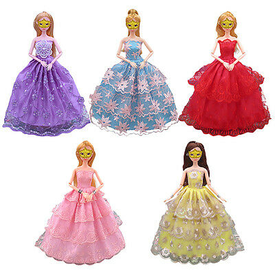 5pcs Handmade Princess Party Gown Dress Clothes Outfits Fit For Barby Doll -bh
