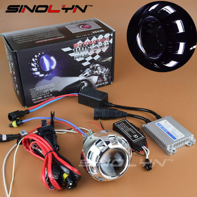 Motorcycle Headlight HID Bi-xenon Projector Lens Angel Eye Halo Headlamp Kit