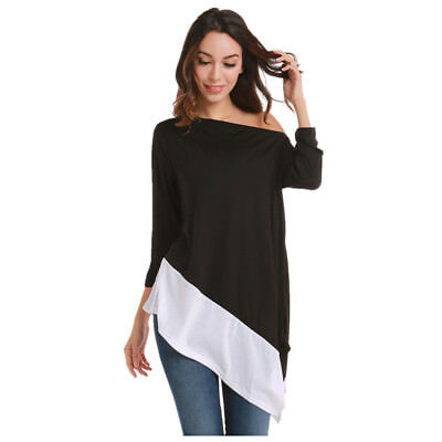 Womens Long Sleeve Blouse T Shirt Pullover Off-Shoulder Tops Loose Casual Tee US