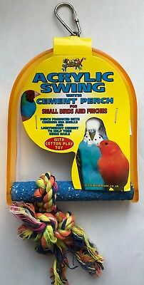Small Birds Budgie Finches Bird Acrylic Swing & Rope Perch Small 4.5 x 6''