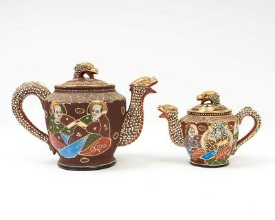 15 Pc. Satsuma Moriage Tea Set Japanese Dragonware Red Gilt Geisha Lithophane