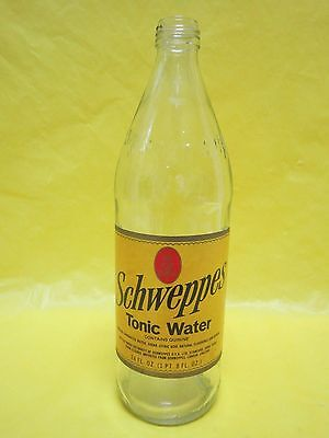 Rare Schweppes Tonic 24 Ounce 1975 Glass Bottle Paper Label No Deposit Or Return