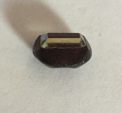 Tingue Glass Antique Button Old Ruby Red Colorless Small