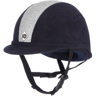 Charles Owen Sparkly Yr8 Kids Safety Wear Riding Hat - Navy And Silver All Sizes