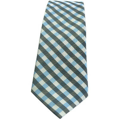 Showquest Checked Unisex Accessory Tie - Black/pale Blue/white All Sizes