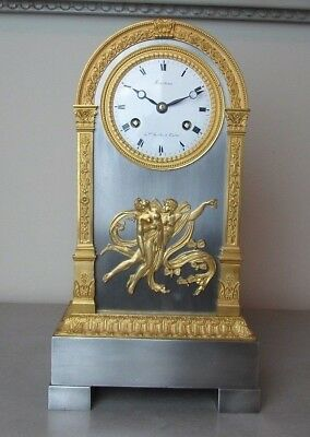 Antique silver plate and gilt Empire period French clock