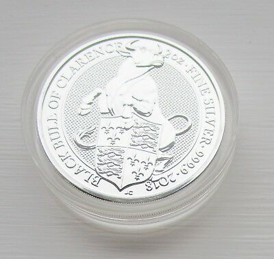 2018 Queen's Beast Black Bull of Clarence silver 2oz coin ready to post