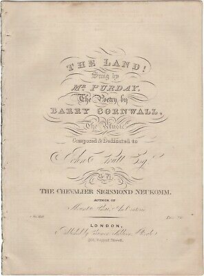 NEUKOMM SIGISMUND VON Spartito Musica THE LAND! Purday Cornwall London 1831