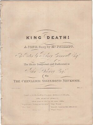 NEUKOMM SIGISMUND VON Spartito Musica KING DEATH! Phillips Cornwall London 1831