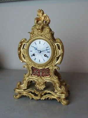 Antique French Mercurial Gilt Bronze Ormolu  Mantle Clock