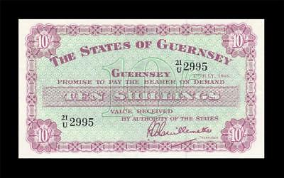 1.7.1966 THE STATES OF GUERNSEY 10 SHILLINGS 10/- (( aUNC ))