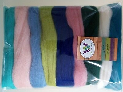 90 g Pure Wool Tops for Felting  9 colours set, Fresh & Energetic colours.