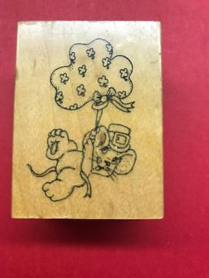 A Mouse Hanging on Bow- A Sprinkle of Love Rubber Stamp-   Art Impressions