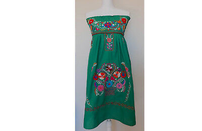 Mexican Dress Handmade Embroidered Strapless Floral Sundress Peasant Mini Dress