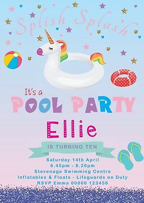Unicorn pool party personalised birthday invitation girl daughter unicorn pool party personalised birthday invitation girl daughter classy stopboris Image collections