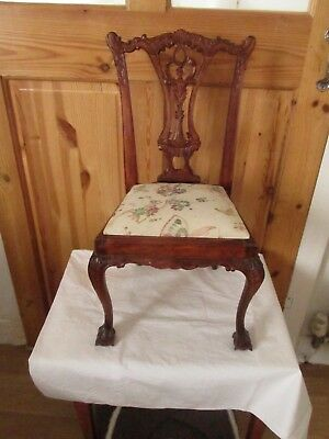 Antique Vintage Small Chair BALL AND CLAW FEET PADDED SEAT